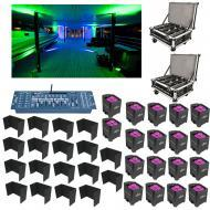 (18) Chauvet Lighting Freedom Par Hex 4 Black Light Charging Case & Controller