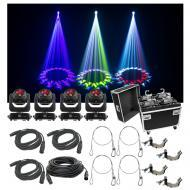 (4) Chauvet DJ Lighting Intimidator Beam 140SR Light Quad Case Bag Clamp Cable