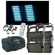 (4) Chauvet DJ Lighting Shocker Panel 180 USB Stobe Light w/ Remote Clamps Bags