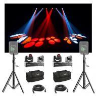 (2) Chauvet DJ Lighting Intimidator Spot Duo 155 Moving Light w/ Stands & Bags