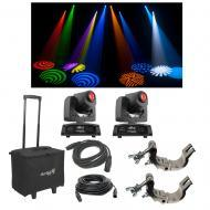(2) Chauvet DJ Intimidator Spot 155 Moving Head Light w/ Bag Clamps & Cables New