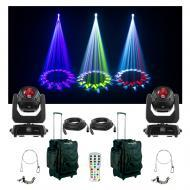 (2) Chauvet DJ Lighting Intimidator Beam 140SR Moving Light Bag Clamp Cables