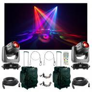 (2) Chauvet DJ Intimidator Hybrid 140SR Moving Light Bag Clamp Cables Package