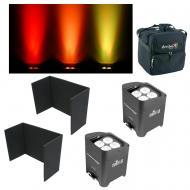 (2) Chauvet DJ Lighting Freedom Par Quad4 IP White Battery Light w/ Covers & Bag