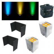 (2) Chauvet DJ Lighting Freedom Par Quad4 IP Black Battery Light w/ Covers & Bag