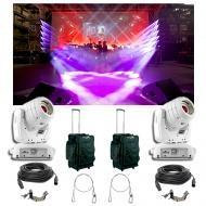 (2) Chauvet DJ Intimidator Spot 355 IRC White Moving Light Bag Clamp Cables