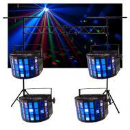 (4) Chauvet DJ Lighting Mini Kinta IRC Derby Color LED Light & 10FT Truss System