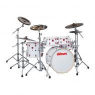Ddrum Hybrid 5 Player Series White Strap Finish Complete Drum Set (HYBRID 5 PLAYER WHT)