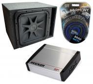 "Car Audio Single 15"" L7 Loaded Kicker L7S15 Vented Sub Box & KX800.1 Amp Package"