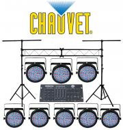 Chauvet Lighting (8) SLIMPAR 64 Stage LED Slim Par Can Lights with Portable Truss System & Am...