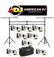 American DJ Lighting (8) 64 COMBO Par Can Polished Stage Lights with Portable Truss System Packag...