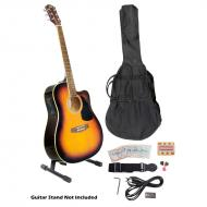 Pyle PGAKT40SB 41' Acoustic-Electric Guitar Package With Gig Bag, Strap, Picks, Tuner, and S...