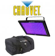 Chauvet DJ Lighting TFX-UVLED LED Shadow Blacklight UV Panel Light with Arriba Transport Carry Bag