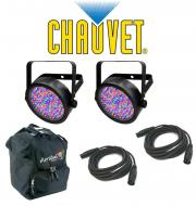 Chauvet DJ Lighting (2) Slim Par 56 Can Stage Wash LED Light with (2) DMX Cables & (1) Arriba...