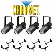 Chauvet DJ Lighting (4) LED Pinspot 2 Disco Mirror Ball Spot Light with (4) Mounting Clamps Package