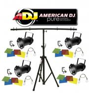 American DJ Lighting (4) 46 BLACK COMBO Par Can Stage Lights with Tripod T-Bar Light Stand Package