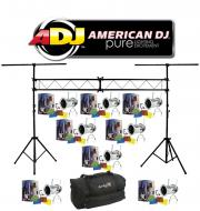 American DJ Lighting (8) 56 COMBO Par Can Polished Stage Lights with Portable Truss System Packag...
