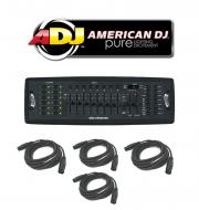 American DJ Lighting DMX Operator 192 Channel Light Fixture Controller with (4) DMX Cables Package