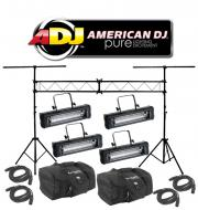 American DJ Lighting (4) Mega Flash DMX Party 800W Stobe Effect Light with (4) DMX Cables, (2) Ar...