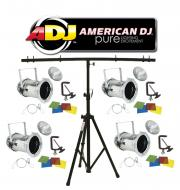 American DJ Lighting (4) 46 COMBO Par Can Polished Stage Lights with Tripod T-Bar Light Stand Pac...