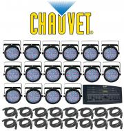 Chauvet Lighting (16) SLIMPAR 64 Stage LED Slim Par Can Light with (16) DMX Cables & DMX Oper...
