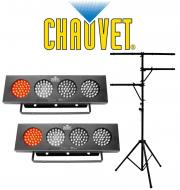 Chauvet (2) DJ BANK Multi Color LED Chase Effect Light with Multi Arm T-Bar Lighting Tripod Stand...