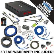 Kicker 44KXA4004 Car Audio 4 Channel Amp KXA400.4 & 4 GA Amplifier Accessory Kit - 3 Year War...