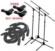 (3) Pro Audio DJ Tripod Adjustable Height Boom Mic Microphone Stands W/ XLR Cables & Free Mic...