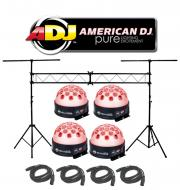 American DJ Lighting (4) Jelly Dome Glowing Moonflower LED Color Light with (4) DMX Cables & ...