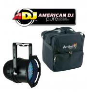 American DJ Lighting 64B LED PRO Black Par Can RGB Color Stage Wash Light with Arriba Travel Bag