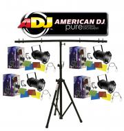American DJ Lighting (4) 56 BLACK COMBO Par Can Stage Lights with Tripod T-Bar Light Stand Package