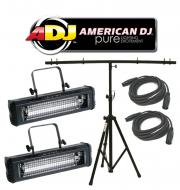 American DJ Lighting (2) Mega Flash DMX Party 800W Stobe Effect Light with T-Bar Stand & (2) ...