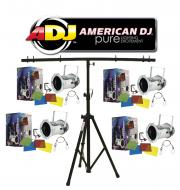 American DJ Lighting (4) 56 COMBO Par Can Polished Stage Lights with Tripod T-Bar Light Stand Pac...