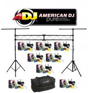 American DJ Lighting (8) 64 BLACK COMBO Par Can Stage Lights with Portable Truss System Package &...