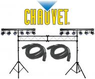 Chauvet DJ Lighting (2) 6SPOT Dance Floor LED Color Light Bar with (2) DMX Cables & Portable ...