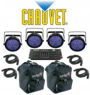 Chauvet DJ Lighting (4) SLIMPAR 64 RGBA Color Wash LED Light with (4) DMX Cables, (2) Arriba Tran...