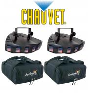 Chauvet DJ Lighting (2) Derby X Dance Effect Party Light with (2) Arriba Carry Transport Bag Package
