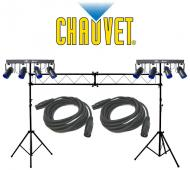 Chauvet DJ (2) 4Play Multi Color LED Moonflower Effect Bar Light with (2) DMX Cables & Portab...