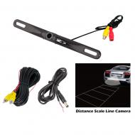 Pyle PLCM18BC License Plate Mount Rear View Backup Color Camera w/ Distance Scale Line (Zinc Blac...