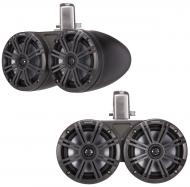 "Kicker 45KMTDC65 Marine Audio Boat Dual 6 1/2"" Tower Pod Speaker Pair Charcoal"