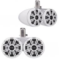 "Kicker 45KMTDC65W Marine Audio Boat Dual 6 1/2"" Tower Pod Speaker Pair White"