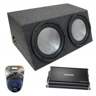"Universal Car Stereo Hatchback Sealed Dual 15"" Harmony A152 Sub Box & CX1200.1"