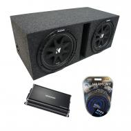 "Universal Car Stereo Vented Port Dual 15"" Kicker Comp C15 Sub Box Enclosure & CX1200.1 Amp"
