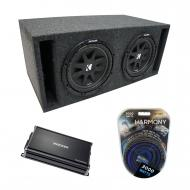 "Universal Car Stereo Slotted S Port Dual 15"" Kicker Comp C15 Sub Box Enclosure & CX1200...."