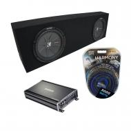 "Universal Regular Cab Truck Kicker CompR CWR10 Dual 10"" Black Sub Box Enclosure & CX1200..."