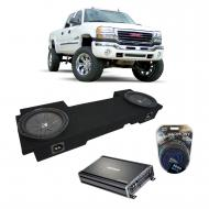 "2001-2006 GMC Sierra HD Crew Truck Kicker CompR CWR12 Dual 12"" Sub Box Enclosure & CX120..."