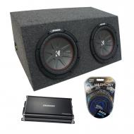 "Universal Car Stereo Hatchback Sealed Dual 12"" Kicker CompR CWR12 Sub Box Enclosure & CX..."