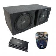 "Universal Car Stereo Vented Port Dual 12"" Kicker CompR CWR12 Sub Box Enclosure & CX1200...."