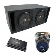 "Universal Car Stereo Slotted S Port Dual 15"" Kicker CompR CWR15 Sub Box Enclosure & CX12..."