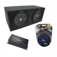 "Universal Car Stereo Rearfire Sealed Dual 15"" Kicker CompR CWR15 Sub Box Enclosure & CX1..."